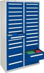 Stumpf Metall Stumpf® ST 420 plus Schubladenschrank mit 28 Schubladen, lichtgrau / blau - 180 x 100 x 50 cm
