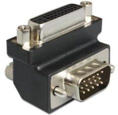 Zwarte DeLOCK DVI/VGA DVI 24+5 F VGA 15 M Zwart kabeladapter/verloopstukje
