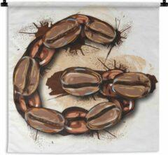 1001Tapestries Wandkleed Letter G illustratie - Een illustratie van de letter G van koffiebonen Wandkleed katoen 60x60 cm - Wandtapijt met foto