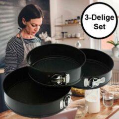 Zwarte Decopatent® Ronde Springvormen Bakvorm Set - SET van 3 Stuks (Ø22 Ø24.5 Ø26cm) - Bakvormen Rond - Metaal - Cakevorm & Taartvorm