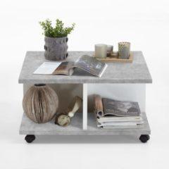 VidaXL Salontafel verplaatsbaar 70x70x35,5 cm grijskleurig glanzend wit VDXL 428800