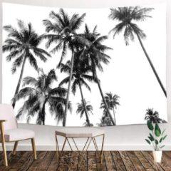 Ulticool - Strand Natuur Retro Vintage Palmboom Kunst Zwart Wit - Wandkleed - 200x150 cm - Groot wandtapijt - Poster