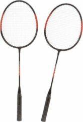 SportX Badmintonset rood/zwart met rackets shuttles en opbergtas 66 cm - voordelige badminton set