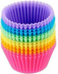 Rode DKvani company Siliconen cupcake vormpjes - 12 stuks - cupcake - muffin - bak - vorm - siliconen - taart - gebak - koekjes - cupcake vormen - dessert - toetjes - decoratie - cups - cupcake cups