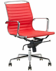 Feel Furniture - Luxe design bureaustoel van 100% rundleer - Lage rugleuning - Rood