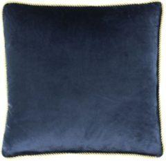 Blauwe Mars & More Kussen fluweel goud navy 45x45cm