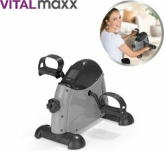 Grijze VitalMaxx 2-in-1 Mini Bike, been en arm hometrainer met trainingscomputer - Bewegingstrainer - Stoelfiets – pedaaltrainer - fiets simulator