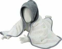 Antraciet-grijze ARTG Babiezz® - Babycape Baby Badcape - Kraamkado - 75 x 75 cm - Wit Cape / Grijs Grijze Capuchon en Rand - 100% Katoen - WHITE / ANTHRACITE GREY