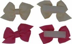 Jessidress Mini Haarclip speciaal voor kleine meisjes Haarstrikje Baby - Fushia/Beige