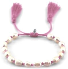 CO88 Collection Elemental 8CB 90111 Armband met Tassels - Zoetwaterparel 6x7 mm - One-size - Roze