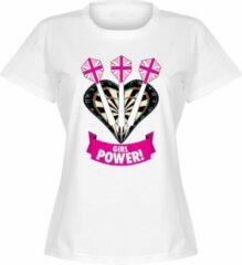 Merkloos / Sans marque Darts Girl Power Dames T-Shirt - Wit - XXL