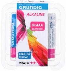 Blauwe Grundig batterijen alkaline LR03 AAA 8 stuks