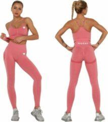 Roze Peachy® Sportlegging en Top - Yoga - Fitness set - Scrunch Butt - Dames Legging - Sportkleding - Fashion legging - Broeken - Gym Sports - Legging Fitness Wear - Roos - maat L - High Waist - Valt klein