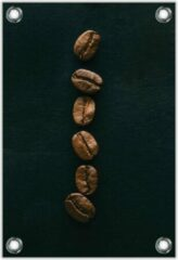 Bruine KuijsFotoprint Tuinposter –Rij Koffiebonen– 40x60cm Foto op Tuinposter (wanddecoratie voor buiten en binnen)