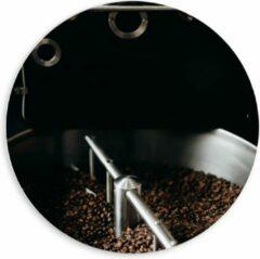 Grijze KuijsFotoprint Forex Wandcirkel - Koffiebonenmachine - 60x60cm Foto op Wandcirkel (met ophangsysteem)