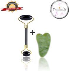 Zwarte Demiracle Black Obsidian Face Roller met Gua Sha Jade Schraper - Valentijnsdag - Cadeau - Gezichtsroller - Massage Roller - Jade Roller - Rimpelverwijdering - Ontspanning - Kwaliteit