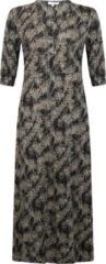 Zwarte Tramontana | Midi Jurk met Print | Print Blacks | Maat L | jurk voor Vrouwen | jurk Dames