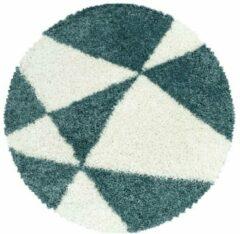TANGO SHAGGY Himalaya Maxima Soft Shaggy Rond Hoogpolig Vloerkleed Blauw / Wit- 120 CM ROND