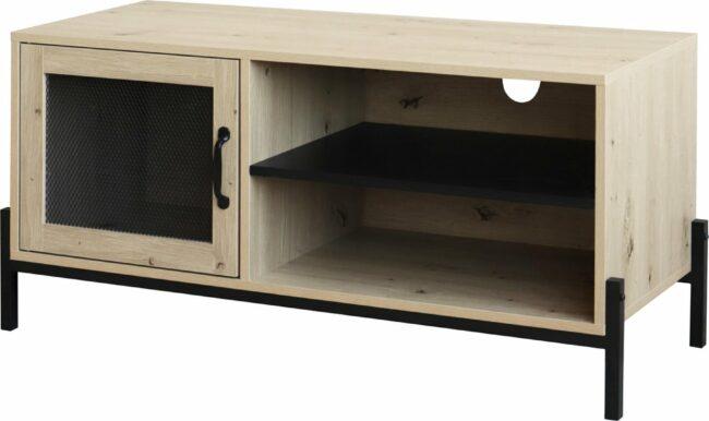 Afbeelding van Bruine QUVIO Tv meubel / Tv dressoir / Tv kastje - Met deur en 2 legplanken - Hout en staal - 40 x 100 x 50 cm (lxbxh)