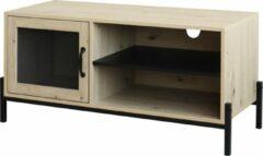 Bruine QUVIO Tv meubel / Tv dressoir / Tv kastje - Met deur en 2 legplanken - Hout en staal - 40 x 100 x 50 cm (lxbxh)