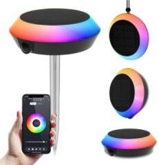 Zwarte LED Smart Solarlamp Pardoo RGBWW Bluetooth IP65 - Oplaadbaar - prikspot, wandlamp en hanglamp voor: Google Home, Amazon Alexa, Siri en Homeylux app