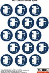 Blauwe Moire BV Pictogram sticker 75 stuks M019 - Lasmasker verplicht - 50 x 50mm - 15 stickers op 1 vel