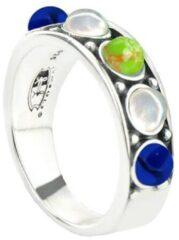 Symbols 9SY 0058 56 Zilveren Ring - Maat 56 - Turkoois - Lapis Lazuli - Parel - Multikleuren - Geoxideerd