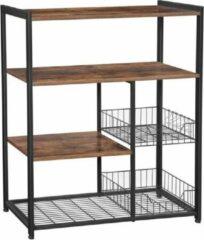 MIRA home MIRA Keukenkast - Staande plank met 2 metalen manden - Bakkersplank met haken en planken - Magnetronplank - Industrieel - Vintage - Bruin/zwart - 80x35x95