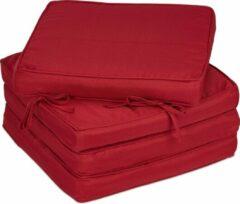 Bordeauxrode Relaxdays stoelkussens eetkamer - zitkussen 40 x 40 - 4 stuks - kussens met lint - dik Bordeaux
