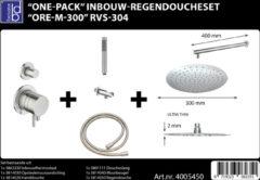 Roestvrijstalen ADW Design Inbouw-Regendoucheset ORE-M-300 30 cm RVS-304