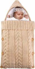 Beige BonBini's™ baby voetenzak - baby slaapzak - Baby Wandelwagen slaapzak, babydekentje met knopen - 75 x 35 cm - 0-3 maanden - Creamy Brown