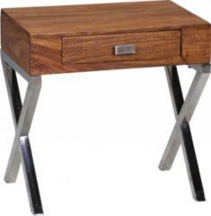 Wohnling Nachttisch GUNA Massiv-Holz Sheesham Nacht-Kommode 45 cm 1 Schublade Metallbeine Nachtschrank Landhaus Echt-Holz