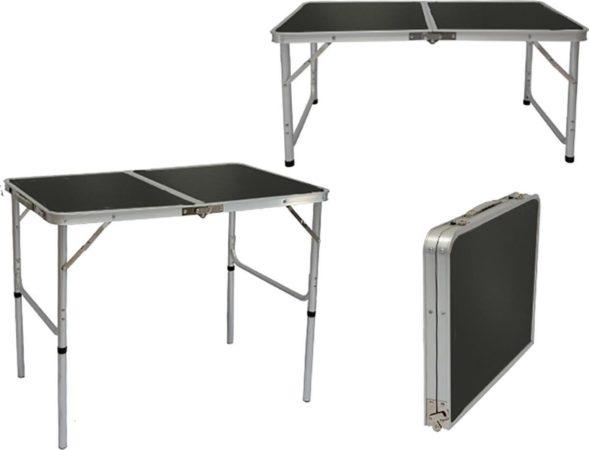 Afbeelding van Grijze AMANKA In hoogte verstelbare campingtafel 90x60x70 cm Lichtgewicht klaptafel Reistafel in kofferformaat ...