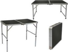 AMANKA In hoogte verstelbare campingtafel 90x60x70 cm Lichtgewicht klaptafel Reistafel in kofferformaat Grijs