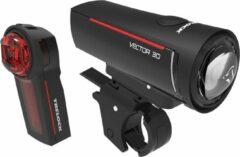 Trelock Verlichtingsset Vector Ls300 & Ls740 30 Lux Zwart 2-delig