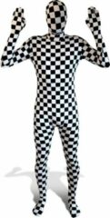 Witte Feestshop.be Morphsuit 'Check' M