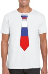 Shoppartners Wit t-shirt met Russische vlag stropdas heren - Rusland supporter 2XL