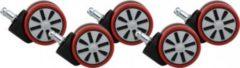 AMSTYLE 5er Set Rollen für Bürostuhl Rot Stift 11mm / Durchmesser 60mm Hartbodenrollen Drehstuhlrollen Stuhlrollen