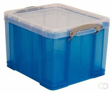 Afbeelding van Really Useful Boxes RUB gekleurde transparante opbergdoos 35 l blauw