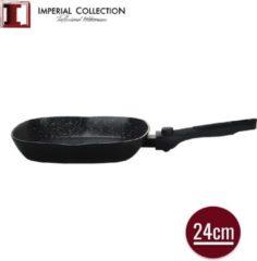 Zwarte Imperial Collection: Marmer Gecoate Grillpan met Marmercoating - ⌀ 24cm - Afneembaar Handvat - Pan zonder Deksel - Inductie Grillpan - PFOA / LOOD-vrij