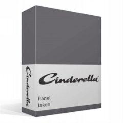 Antraciet-grijze Cinderella Basic - Flanel - Laken - Tweepersoons - 200x270 cm - Anthracite