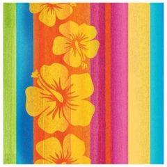 Merkloos / Sans marque 16x Hawaii thema servetten 33 x 33 cm - Papieren wegwerp servetjes - Tropische bloemen/Hibiscus/Hawaiiaanse versieringen/decoraties