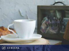 LUBIANA STONE AGE - kop en schotel 6 stuks -wit porselein