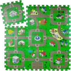 Relaxdays speelmat verkeer - puzzelmat - verkeerskleed - speeltegels - zacht - kruipmat
