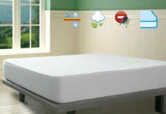Witte SAVEL – Waterdichte en ademende, 100% natuurlijk katoenen molton matrasbeschermer – 200x200cm