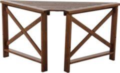 Gardenhome Massivholz Tisch OSLO Eckablage mit 2 Armlehnen Braun