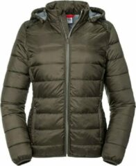 Russell Dames/dames Hooded Nano Jacket (Donkere Olijf)