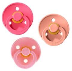 Koraalrode Bibs Fopspeen 3 stuks maat 1 0-6 maanden |Coral, Peach, Baby Pink