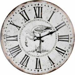 HAES deco – Ronde Retro Vintage Wandklok – Wijzerplaat met Romeinse Cijfers – Ronde klok van MDF zonder tikgeluiden – Formaat diameter 34 cm. - WCL0643