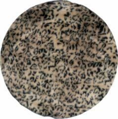 Bruine Veercarpets Vloerkleed Safari - Rond - Brown - ø160 cm - Dierenprint - Hoogpolig - Zacht